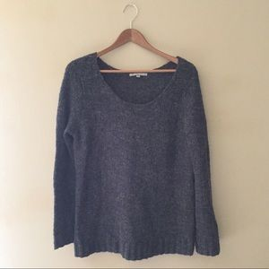 Gap charcoal gray soft knit sweater scoop neck